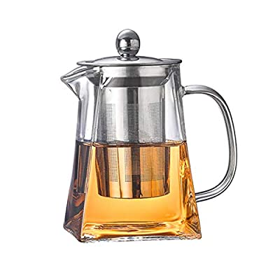 Hkkais Glass Teapot with Removable Infuser, Teabloom Stovetop & Microwave Safe Borosilicate Square Glass Teapot - 950 ml/32 Ounce
