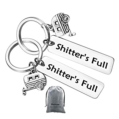 2Pcs Shitter's Full Camper Keychain Happy Camper RV Keychain Unique Gifts for Men Women Camper Trailer Vacation Jewelry by Xiahuyu