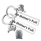 2Pcs Shitter's Full Camper Keychain Happy Camper RV Keychain Unique Gifts for Men Women Camper Trailer Vacation Jewelry