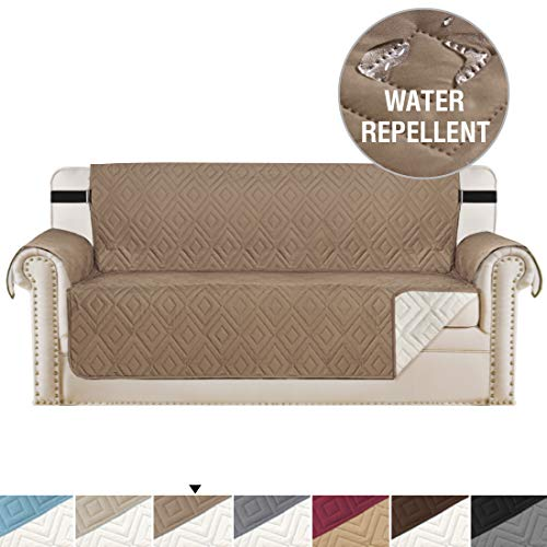 H.VERSAILTEX Reversible Sofa Slipcover Furniture Protector Water Resistant 2 Inch Wide Elastic Straps Sofa Cover Couch Covers Pets Kids Fit Sitting Width Up to 66' (Sofa, Taupe/Beige)