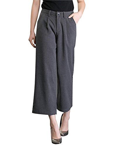 ZongSen Femme Pantalon Palazzo Grandes Tailles évasé et Jambe Large Pantalon Classique à Plis Marqués Gris 31