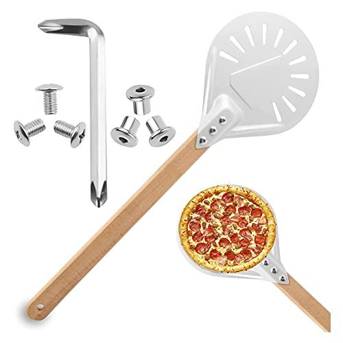 Flatware Pizza Peel Redondo Pizza Pelada Pizza Pizza con Mango de Madera Aleación de Aluminio Metal Pizza Spatula Pizza Tablero Accesorios DE Accesorios para HORNOS para LA Parrilla Horno Horno Pizza