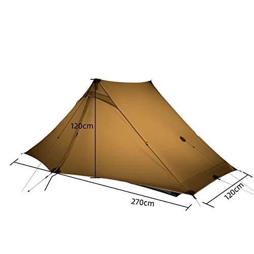 Mdsfe 3F UL GEAR LanShan 2 pro Tent 2 Person 3 Season Outdoor UltralightProfessional 20D Nylon Both Sides Silicon Camping Tent-4 Season Khaki