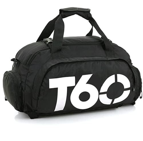MONZÓ, Bolsa de Deporte, Mochila de Gimnasio Fitness Viaje Impermeable Bolsa Fin de Semana Travel Bag Bolsa Plegada con Compartimento para Zapatos Bolsos Deportivos Ideal para Jóvenes y Adultos,Hombre y Mujer (NEGRO-BLANCO)