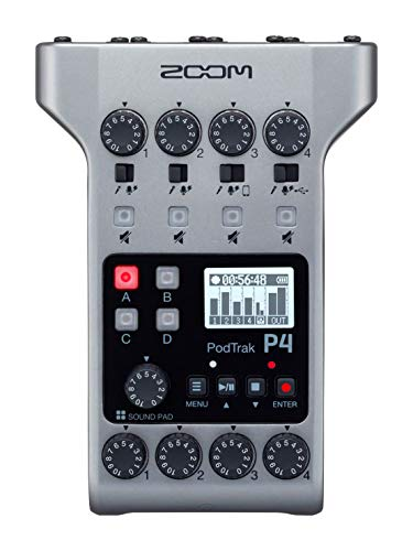 Zoom PodTrak P4 Podcast Recorder, Battery Powered, 4 Microphone Inputs, 4 Headphone Outputs, Phone and USB Input for Remote Interviews, Sound Pads, 2-In/2-Out Audio Interface