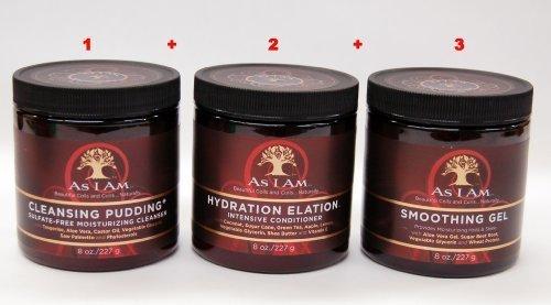 As I Am Hair Care Set II- Cleansing Pudding 8oz +Hydration Elation 8oz + Smoothing Gel 8oz by I Am