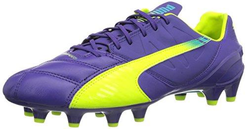Puma Evospeed 1.3 LTH FG, Botas de fútbol para Hombre, Prism Violet/Fluro Yellow/Scuba Blue 01, 44.5 EU