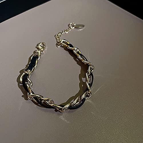 Moda personalidad simple pulsera de moda pulsera de cadena de cuero temperamento joyería mujeres