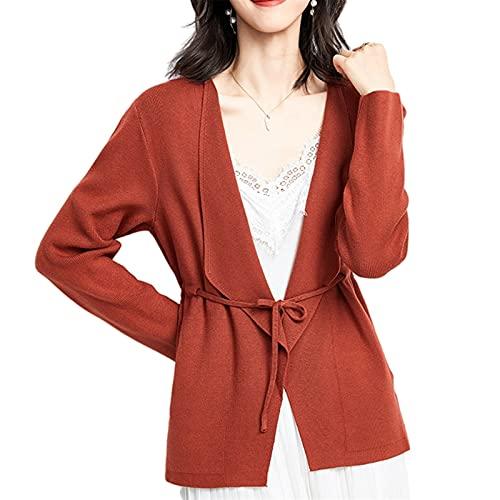 Mfacl Bluzy Damskie - Knitwear Kurtka z dzianiny Sweter Sweterki damskie Slim-Fit Sweter Cardigan Fashion (Color : Red, Size : ONE SIZE)