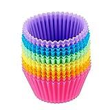 SUQ 12 moldes de Silicona para Magdalenas, Moldes Reutilizables con Colores del arcoíris, Libres de...