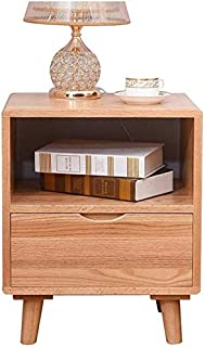 High quality Tables Bedside Nightstand Bedroom Furniture Side End Storage Cabinet Solid Wood with Drawers (Color : Wooden ...