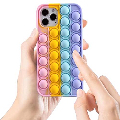 Balle Fidget Toys Coque pour iPhone 6/ 6S/ 7/8/ SE 2020, Push Fidget Toys Balle Anti Stress Pop Coque Silicone Souple Antichoc Arc en Ciel Compatible avec iPhone 7 [Multicolore]