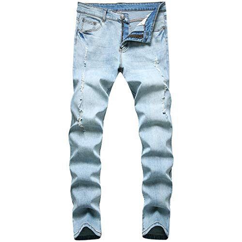 ONTTNO Skinny Jeans for Men Stretch Slim Fit Ripped Distressed (34W x 32L, Light Blue Ripped)