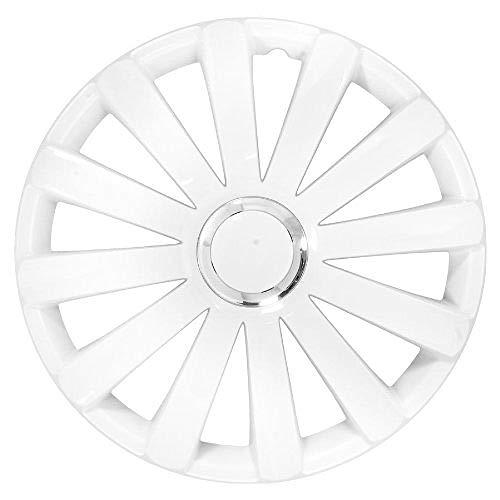 Petex rb53681 Enjoliveur Spyder Pro 2 Compartiment laqué avec Anneau en Chrome Matériau : Nylon dans boîte de Rangement, Blanc – Lot de 4