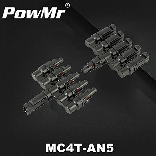 Ochoos MC4 5T MC4 MC4 MC4 MC4T-AN5 - Conector de cable para conector de 5 conectores de panel solar, resistente al agua, macho y hembra