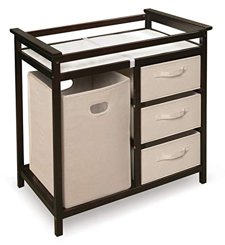 Modern Baby Changing Table with Laundry Hamper, 3 Storage Baskets, and Pad