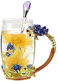 Unique 2018 New Birthday Presents Mother Day Gift for Women Girl Boyfriend Novelty Flower Glass Tea Cups Coffee Mug (blue-1)