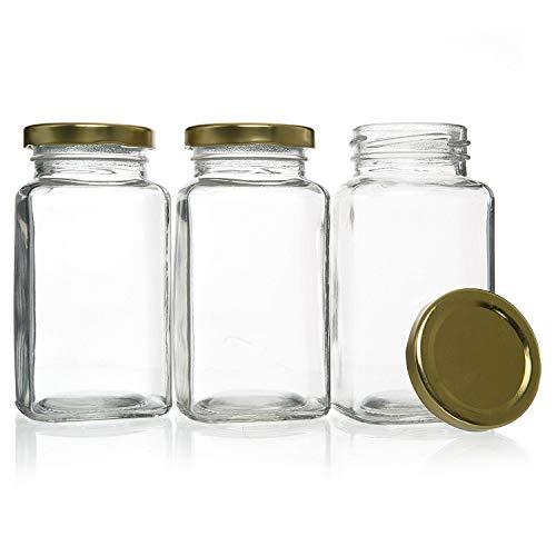 30 Barattoli in Vetro di Forma Quadra da 280 ml con Tappi Rossi, per Conserve, Marmellata, Miele, Chutney