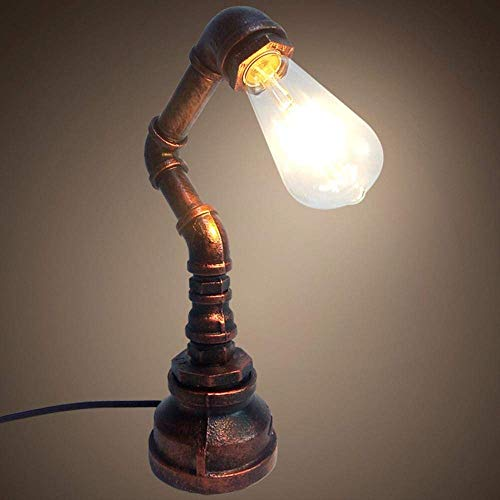 FAGavin Lámpara De Escritorio LED Creativa, Industrial, Clásica, Vintage, Loft Rusty Tube Design For Decoración, Cafetería, Sala De Estar (Color : Brass)