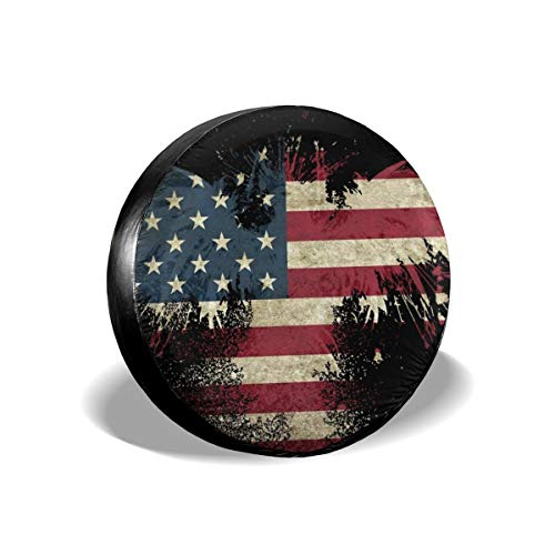 """Car Tire Cover Rainproof Protective Cover Bald American Flag Water Proof Universal Spare Wheel Tire Cover Fit for Trailer, RV, SUV and Various Vehicles 14"""" 15"""" 16"""" 17"""" Inch"""