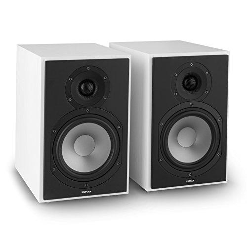 NUMAN Reference 802 - Regal-Lautsprecher, Lautsprecher-Boxen, HiFi-Boxen, Lautsprecher-Paar, high-end Boxen, 2-Wege-System, Spitzenleistung 120 Watt, Impedanz 4 Ohm, weiß