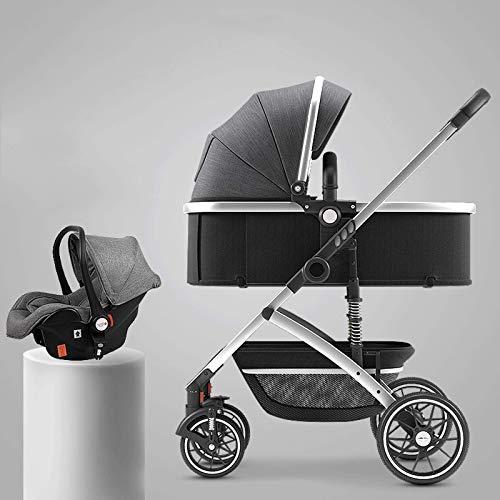 GFHJ1201 Cochecito De Bebé 2 En 1, Cochecito De Bebé Reversible con Parasol, Sistema De Viaje De Cochecito De Bebé Ligero Y Plegable con Una Mano con Cesta Grande(Color:Gris Oscuro)