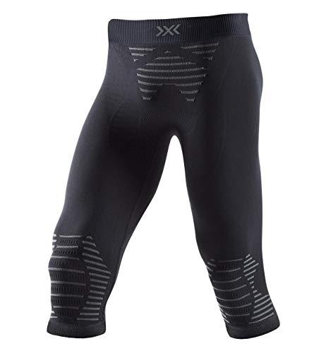 X-Bionic Invent 4.0 Pants 3/4 Men, Pantaloni Corsa Jogging Fitness Training Baselayer Leggings Sportivi Uomo, Black/Charcoal, L