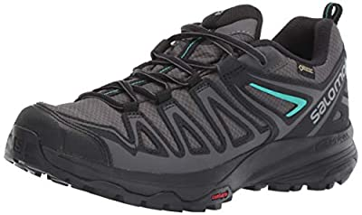 Salomon Women's X Crest GORE-TEX Hiking Shoes, Magnet/Black/Atlantis, 8.5 US