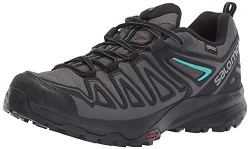 Salomon Women's X Crest GORE-TEX Hiking Shoes, Magnet/Black/Atlantis, 9 US