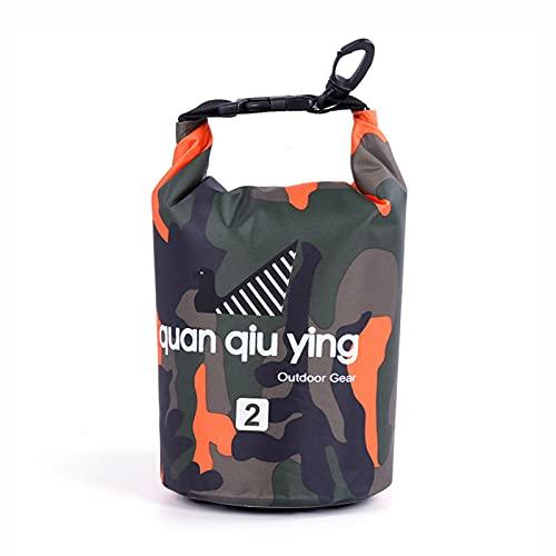BAIEPING Mini Bolsa Seca Impermeable De 2L, Camuflaje De PVC Ligeras Bolsas Secas Flotantes para Kayak Pesca Esquí Rafting Canotaje Camping