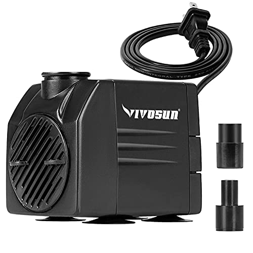 VIVOSUN 120GPH Submersible Pump(450L/H, 6W), Ultra Quiet Water Pump with 3.1ft High Lift, Fountain Pump with 5ft Power Cord, 2 Nozzles for Fish Tank, Aquarium, Statuary, Hydroponics