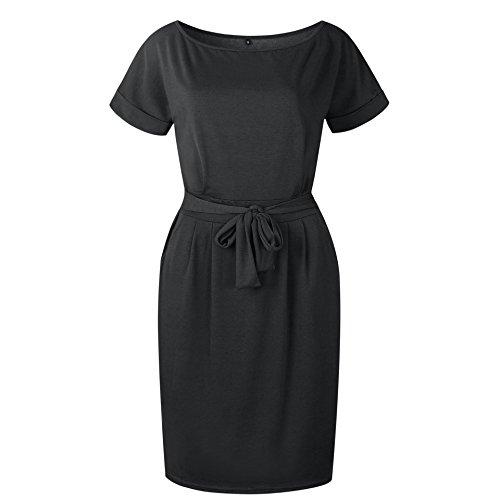 Valin V0789 - Vestido de Bodycon para mujer, manga corta, cuello redondo 0789-negro 50