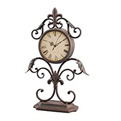 Stonebriar Fleur De Lis Table top Clock