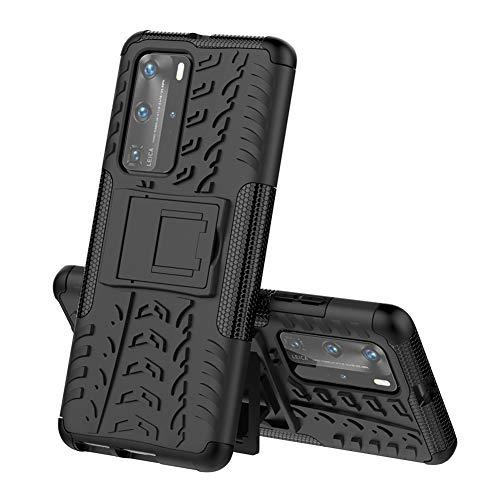 OOPKINS Case for Huawei P40 Pro Plus Heavy Duty with Folding Bracket Kickstand Dual Layer Drop Protection Shockproof Hard Phone Case for Huawei P40 Pro Hyun Black