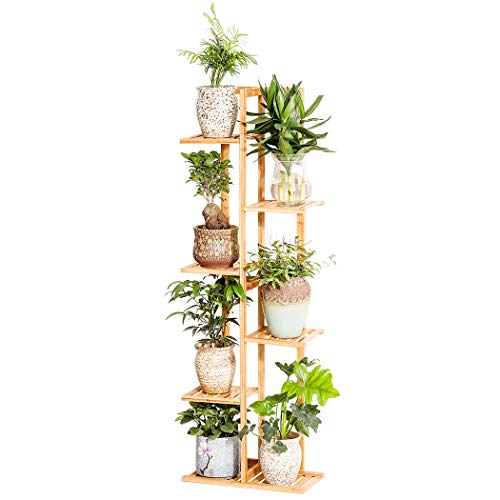 Bamboo 6 Tier 7 Potted Plant Stand Rack Multiple Flower Pot Holder Shelf Indoor Outdoor Planter Display Shelving Unit for Patio Garden Corner Balcony Living Room