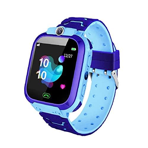 Tuimiyisou Tarjeta SIM de la Correa de la cámara de Llamadas SOS del Reloj teléfono Inteligente Hijos de los Hijos estanco Compatible con iOS Anroid Azul