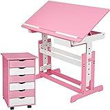 TecTake 800062 Kinderschreibtisch mit Rollcontainer Schreibtisch neig- &...