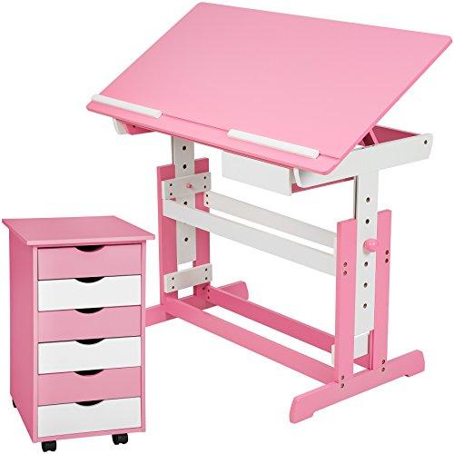 TecTake 800062 Kinderschreibtisch mit Rollcontainer Schreibtisch neig- & höhenverstellbar -Diverse Farben- (Pink | Nr. 401240)