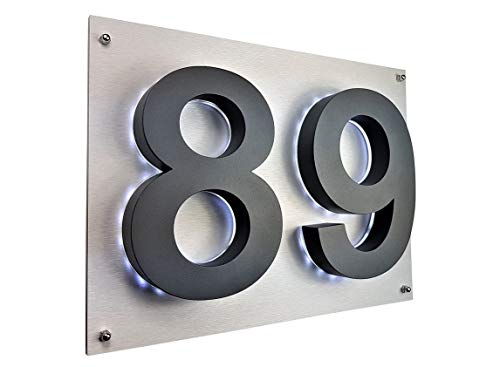 LED Hausnummer 3D anthrazit RAL7016 Edelstahl V2A beleuchtet Hausnummerschild Arial Hausschild ZWEISTELLIG 35cm x 28cm Farbe: aluminium