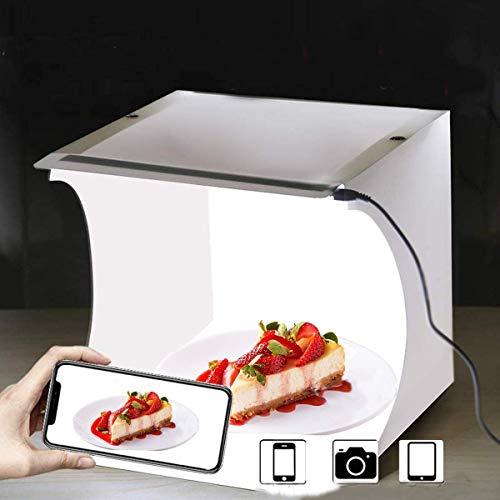 Mini Estudio Fotográfico Portátil, caja de luz fotografía estudio Kit pequeño plegable de luz LED Softbox Kit 23 x 24 x 25 cm con 2 tiras LED de 6000 K blancas y 2 colores Backdrops