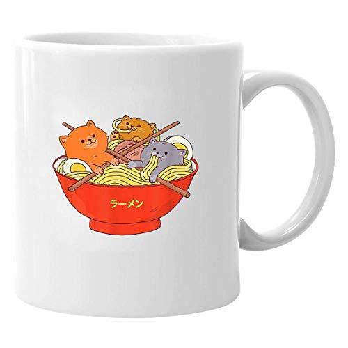 N\A Kawaii Anime Cat Japanese Ramen Noodles Gift & ndash; Taza de café de cerámica de 11 oz