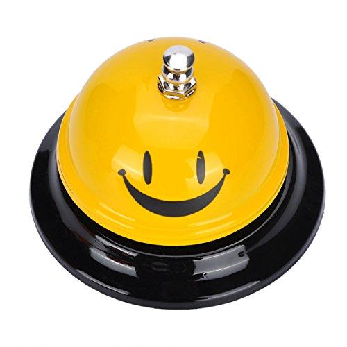 Nibesser Tischglocke Tischklingel Rezeptionsklingel Metall Hotelglockel mit Druckauslöser (Lächeln)