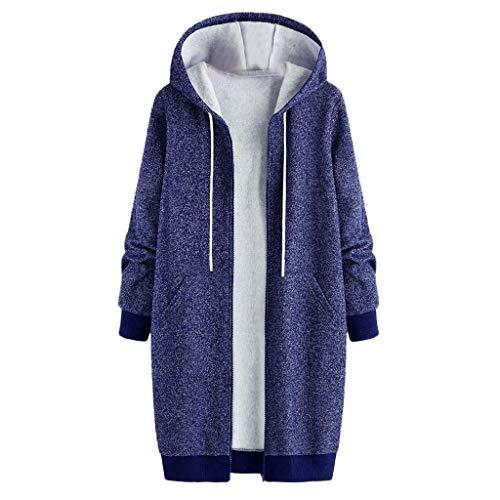 SANFASHION Damen Coat Frauen Plus Größe Winter Warm Dick Brushed Outwear Mantel Kapuzenjacke solide Kapuze Taschen Vintage Mäntel