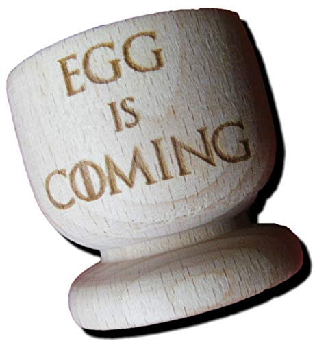 FastCraft Eierbecher aus Holz, inspiriert von Game of Thrones, Ei is Coming, 2 Stück