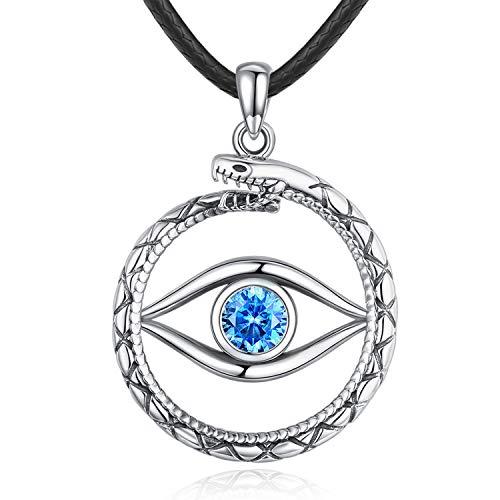 Eusense - Collar de ojo maligno de plata de ley con colgante de ojo para el tercer ojo, collar de serpiente para mujeres, hombres