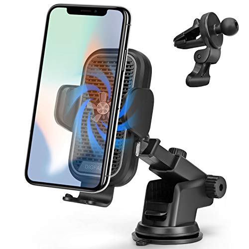 DIGFAD Cell Phone Holder for Car, 15W Qi Wireless Charger, Auto Clamping, Built-in Cooling Fan, Mount to Windshield, Dashboard, Air Vent, Works with iPhone 12 Mini 11 Pro Max XS XR X 8 Samsung S10 S9