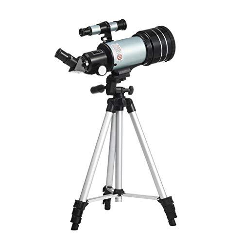 RUI - K25 Telescopio astronómico, 300/70 mm Telescopio Refractor Lente 150X HD Telescopio monocular con Soporte for teléfono Trípode Ajustable 3X Lente Barlow Filtro de Luna