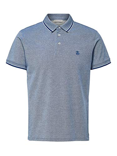 SELECTED HOMME Herren 16065598 T-Shirt, Blau(LimogesTwisted with Egret), X-Large