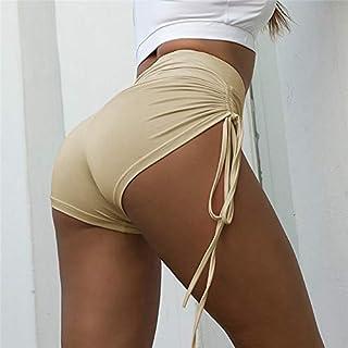 Beiziml Women High Elastic Yoga Shorts Fitness Drawing Rope Wrinkle Running Shorts Ladies Summer Sports Dancing Shorts Kni...