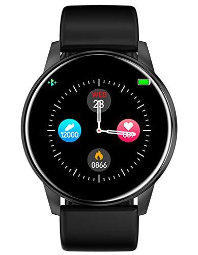 Fitnessuhr Damen Armbanduhr Frauen Blutdruck Pulsmesser Sport Uhr Kalorienzähler Schrittzähler Wasserdicht Männer Schwarz Smartwatch IOS Android